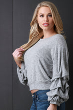 Soft Marled Knit Long Ruched Sleeves Top - visitors