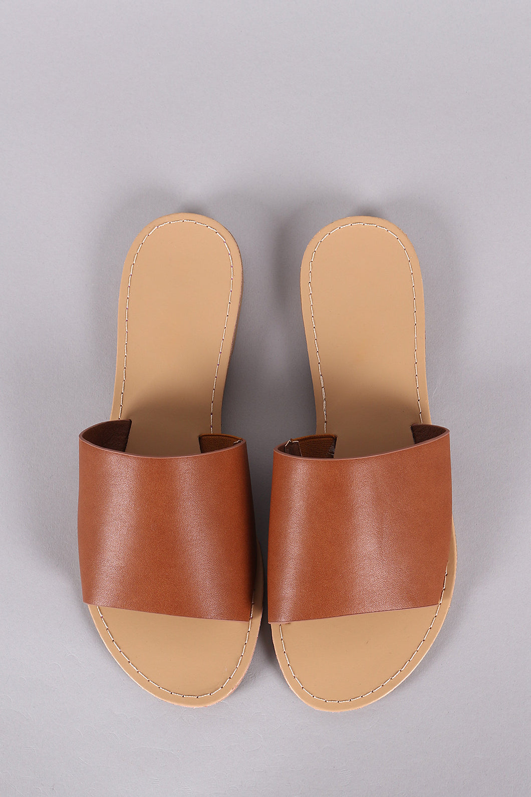 Vegan Leather Wide Band Slide Sandal - visitors