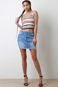 High Waisted Pearl Accent Raw Cut Mini Denim Skirt - visitors