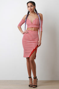 Sweetheart Bardot Houndstooth Two-Piece Dress - visitors
