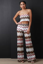 Chevron Crochet Crop Top with Wide Leg Pants - visitors