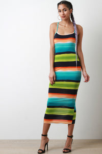 Vibrant Horizontal Striped Midi Dress - visitors