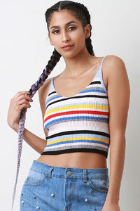 Colorful Striped Ribbed Knit V-Neck Crop Top - visitors