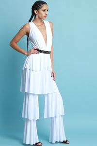 Ruffle Tiered Deep-V Jumpsuit - visitors
