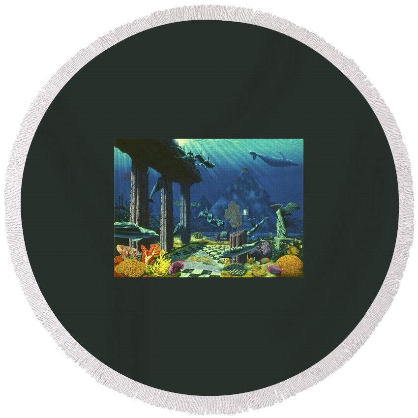 Aqueous Atlantis - Round Beach Towel - visitors