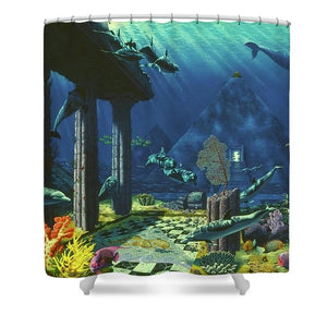 Aqueous Atlantis - Shower Curtain - visitors