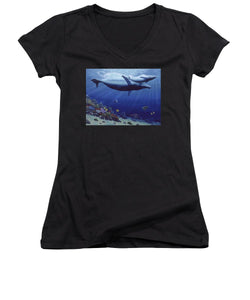 Baby Humpback - Women's V-Neck (Athletic Fit) - visitors