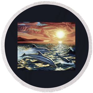 Dolphin Dream - Round Beach Towel - visitors