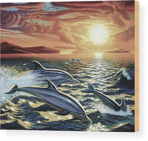 Dolphin Dream - Wood Print - visitors