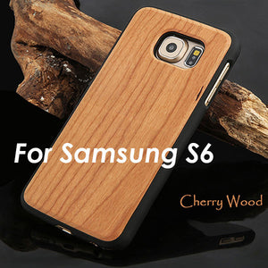 Real Wood Phone Cases For Samsung Galaxy S6 S6 edge Natural Rosewood Cherry Carbonized bamboo Wooden Case Hard PC Back Cover New - visitors
