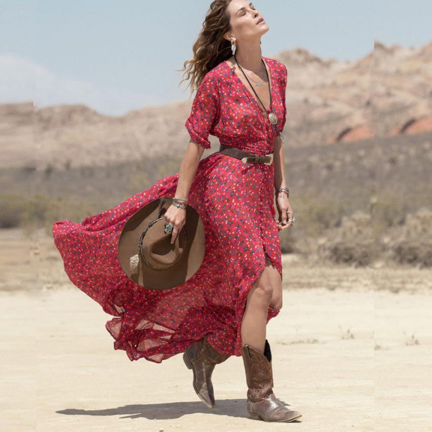 JECKSION Summer Women Boho Chiffon Dress Casual V-Neck Floral Party Beach Long Maxi Dresses Red long dress - visitors