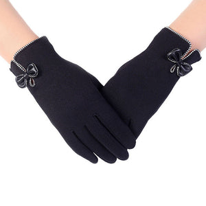 High Quality   Screen Gloves Ladies Womens Big Bow Winter Warm Mittens For winter gloves women - visitors