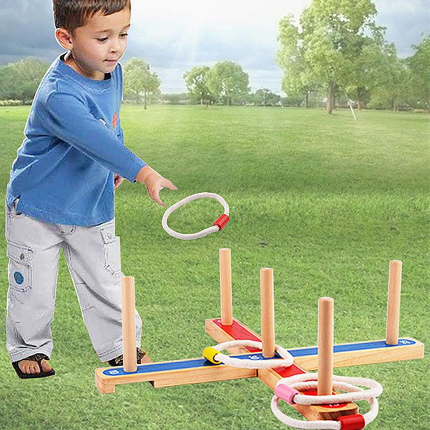 Kids toy Wooden Garden Indoor Outdoor Quoits Pegs & Rope Hoopla Family Fun Game Summer Sports outdoor toys for children - visitors
