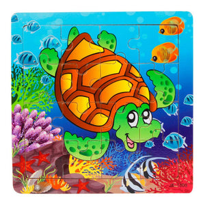 Turtle Animal Wooden Puzzle Kids toy 16 Piece Jigsaw puzzles for chidlren Educational Toys - visitors