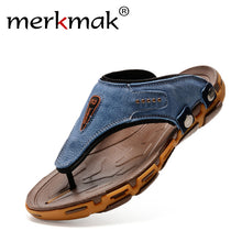 Merkmak Brand Hot Fashion Breathable Slippers Summer Shoes Genuine Leather Flip Flops Beach Slippers Best Quality Free Shipping - visitors