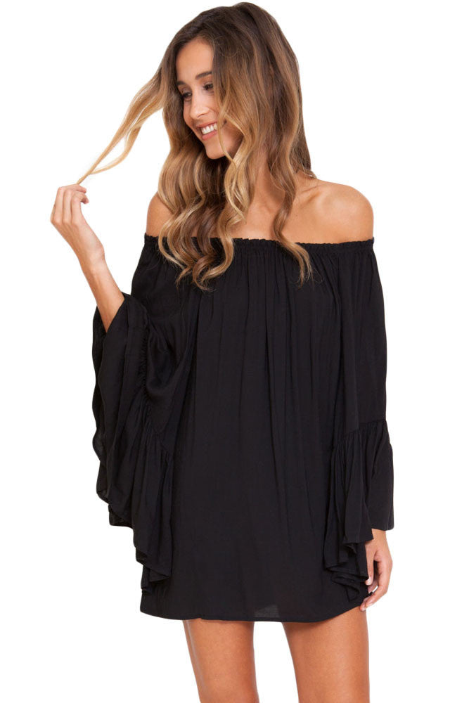Malibu Casual, Black Ethereal Chiffon Mini Dress - visitors