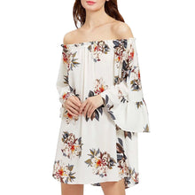 Malibu Casual, Off Shoulder, Casual Long Bell Sleeve, Printed Chiffon - visitors