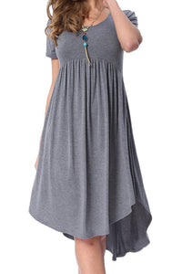 Malibu, Casual, Grey Short Sleeve Swing Dress - visitors