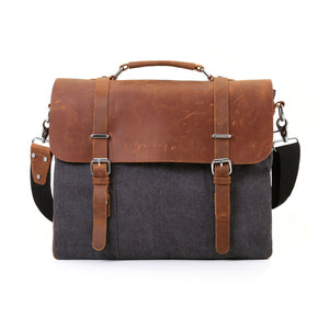 "ECOSUSI Vintage Canvas Leather 15.6"" Laptop Messenger Bag Men Satchel Briefcase - visitors"