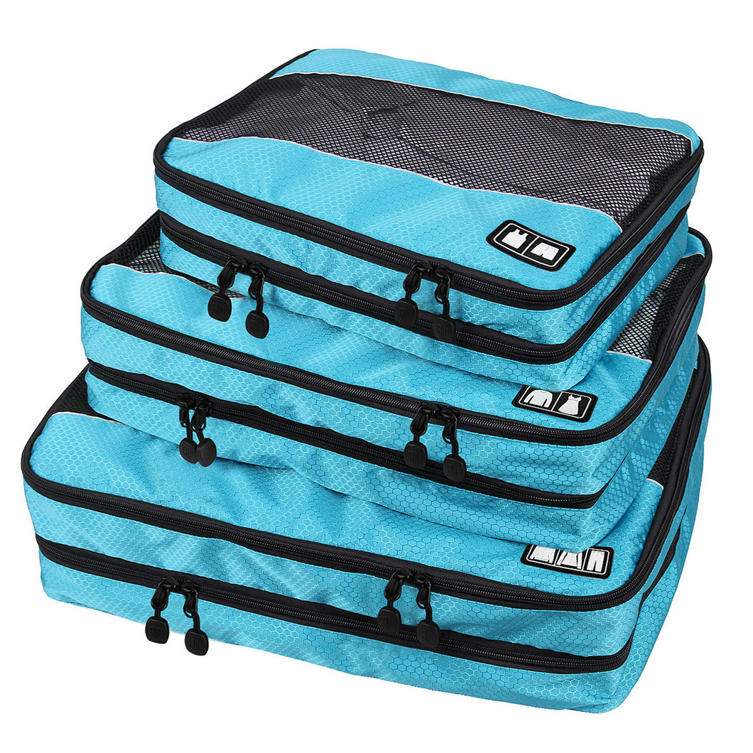 BAGSMART Travel Packing Cube (Small-Large 3 Piece) for Carry-on Travel Accessories. Suitcase and Backpacking (Double Compartment) - visitors