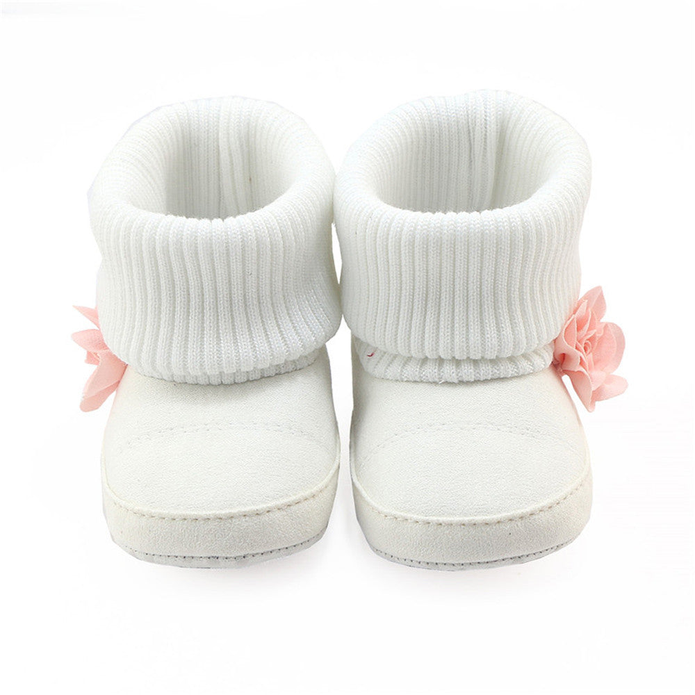 Toddler Newborn Baby Girls Boys Flower Crib Boots Soft Sole Prewalker Warm Baby girls winter Shoes drop ship - visitors