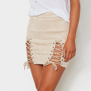 Malibu Casual, Lace Up Faux Leather Suede Pencil Skirt - visitors