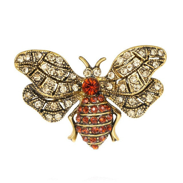 Vintage Large Enamel Butterfly and Bee Brooches - visitors