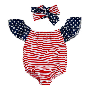 Newborn Baby Girl Rompers Off Shoulder Kids Clothes Striped Flag printing Rompers Toddler Jumpsuit  +Headband 2pcs Outfits Set - visitors