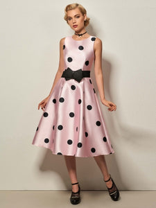 Pink No Belt Polka Dots Women's Day Dress - visitors