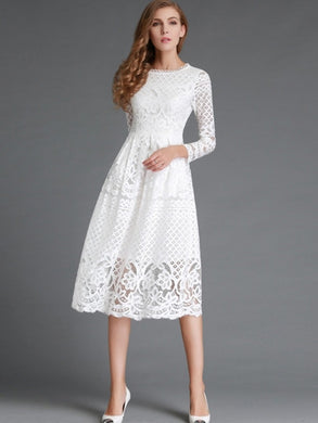 Hollow Long Sleeve Women's Lace Dress - visitors
