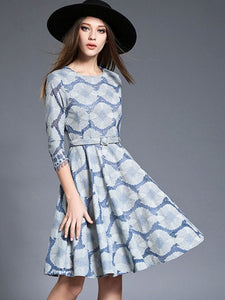 Country Elegance, Embroidery Waves Printed Dress - visitors