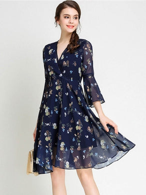 Country Elegance, Chiffon Blue Flared Sleeve Women's Day Dress - visitors