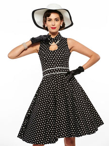 Malibu Vintage, Hollow Lapel Polka Dot Dress - (Plus Size Available) - visitors