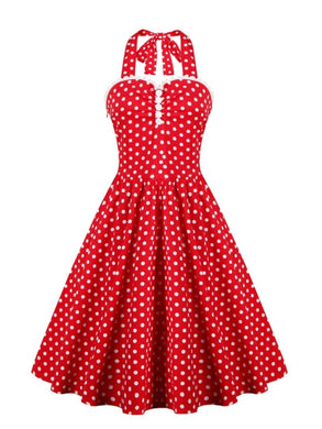 Vintage Malibu, Polka Dots Bowknot Halter Dress - visitors