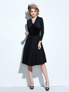 Black V Neck Lace up Women's Vintage Dress - visitors