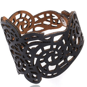 Vintage Women Punk Style Hollow Out Flower Wide Bangle Cuff Leather Bracelet BK - visitors