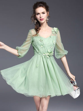 Country Elegance, Green Half Sleeve Dress - visitors