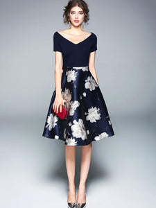 Country Elegance, Dark Blue Flowered Dress - visitors