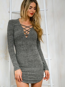 Malibu Casual, Gray Long Sleeve Dress - visitors