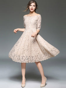 Country Elegance, Half Sleeve Lace Dress - visitors