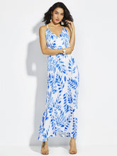 Spaghetti Strap Plant Print Backless Women's Maxi Dress - visitors