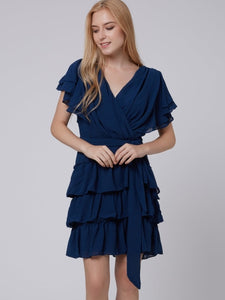 Solid Color Short Sleeve V Neck Chiffon Women's Day Dress - visitors