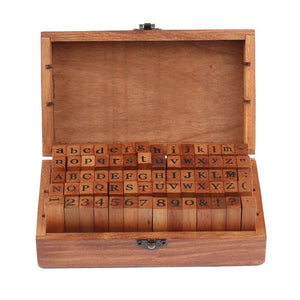 Vintage Toys, Wood Number And Alphabet Rubber Stamps Set With Wooden Box - visitors