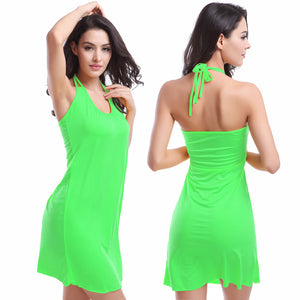 Sexy Beach Dress Neck Strap Tie Bikin Cover Up Swimsuit Coverup Dress for Women - visitors