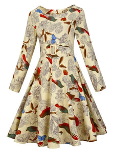 Vintage Long Sleeve Printed Women's Day Dress - visitors