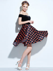 Vintage Malibu, Slash Neck Polka Dot Dress - visitors