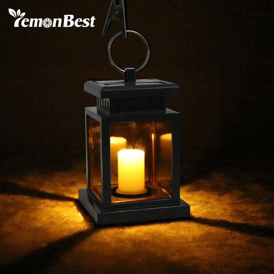 Waterproof Flickering Flameless Solar LED Candle Light Outdoor Hanging Lantern Smokeless for Garden Yard Lawn Patio Camping Tent - visitors