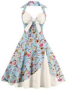 Vintage Malibu, Floral Bowknot Halter Dress - visitors