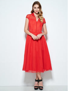 Red Lapel Rhinestone Decorated Women's Vintage Dress (Plus Size Available) - visitors
