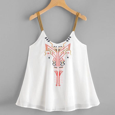 Casual Women Embroidery Cami Top Sleeveless Crop Top Vest Tank Shirt Tie Clothing 2017 Vintage O Neck Satin Camisole Plus Size - visitors